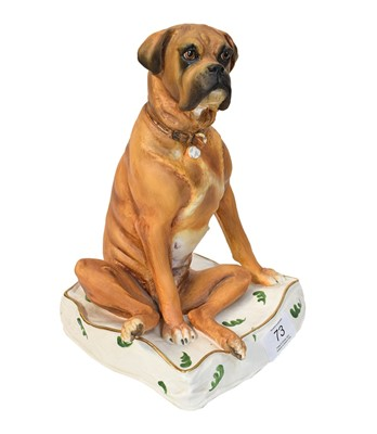 Lot 73 - Royal Worcester model of a seated Boxer dog,...