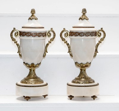 Lot 19 - A pair of early 20th century white marble and...