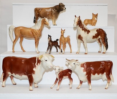 Lot 39 - Beswick horses including swish tail horse in...