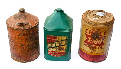 Lot 69 - Three 5-Gallon Agricultural Motor Oil Cans,...