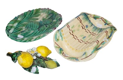 Lot 30 - Two 19th century Continental Majolica dishes...