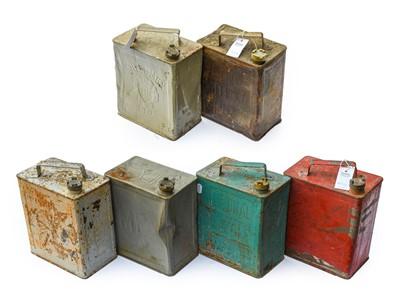 Lot 92 - Six Vintage 2-Gallon Fuel Cans, comprising...