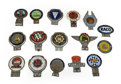 Lot 28 - Sixteen Assorted Chromed and Enamel Car Badges,...