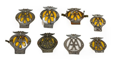 Lot 50 - Eight Chromed AA Badges, of assorted eras