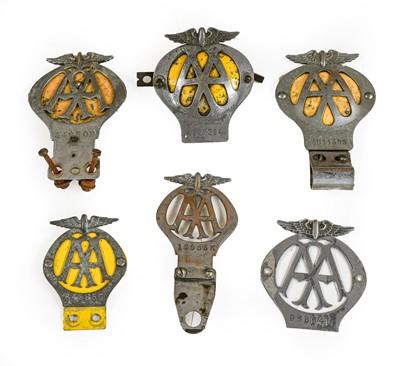 Lot 12 - Six Chromed Metal AA Badges, of assorted eras