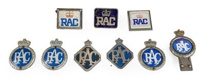 Lot 31 - Nine RAC Chromed Metal and Plastic Members'...