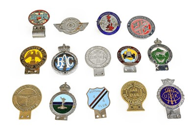 Lot 8 - Fourteen Chromed and Brass Car Badges, to...