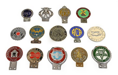 Lot 44 - Fourteen Chrome and Brass Car Badges, to...