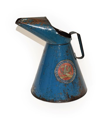 Lot 66 - A Blue Painted Oil Can, with paper level...