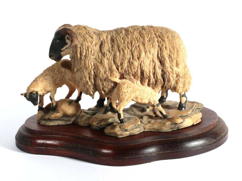 Lot 5 - ^ Border Fine Arts 'Blackfaced Ewe and Lambs' (Style One), model No. L25 by Mairi Laing Hunt,...