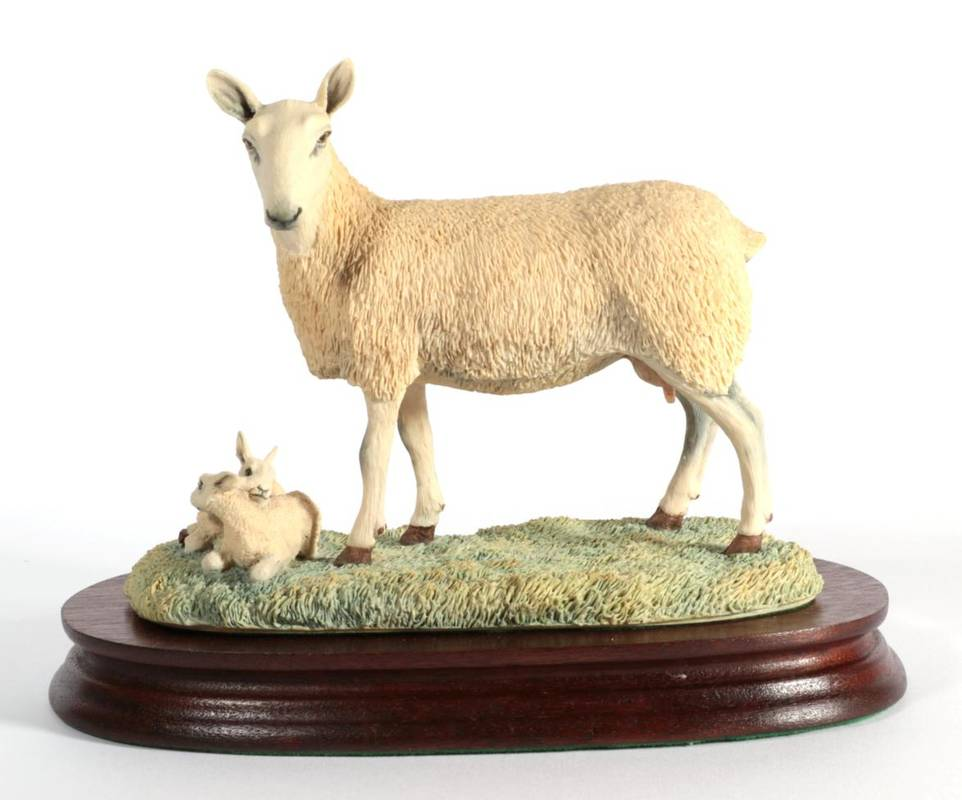 Lot 8 - ^ Border Fine Arts 'Blue Faced Leicester Ewe and Lambs' (Style One), model No. L31 by Ray...