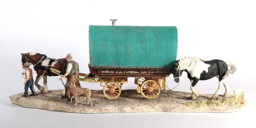 Lot 41 - Border Fine Arts 'Arriving at Appleby Fair' (Bow Top Wagon and Family), model No. B0402 by Ray...