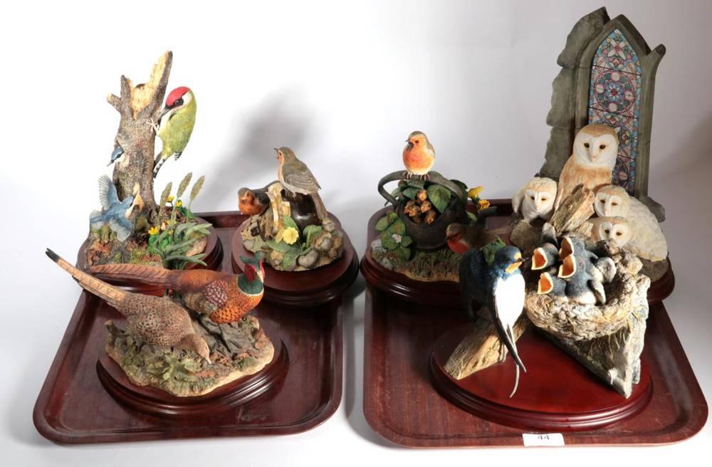 Lot 44 - Border Fine Arts Bird Models Comprising: 'Noisy Neighbours', model No. B0995, limited edition...