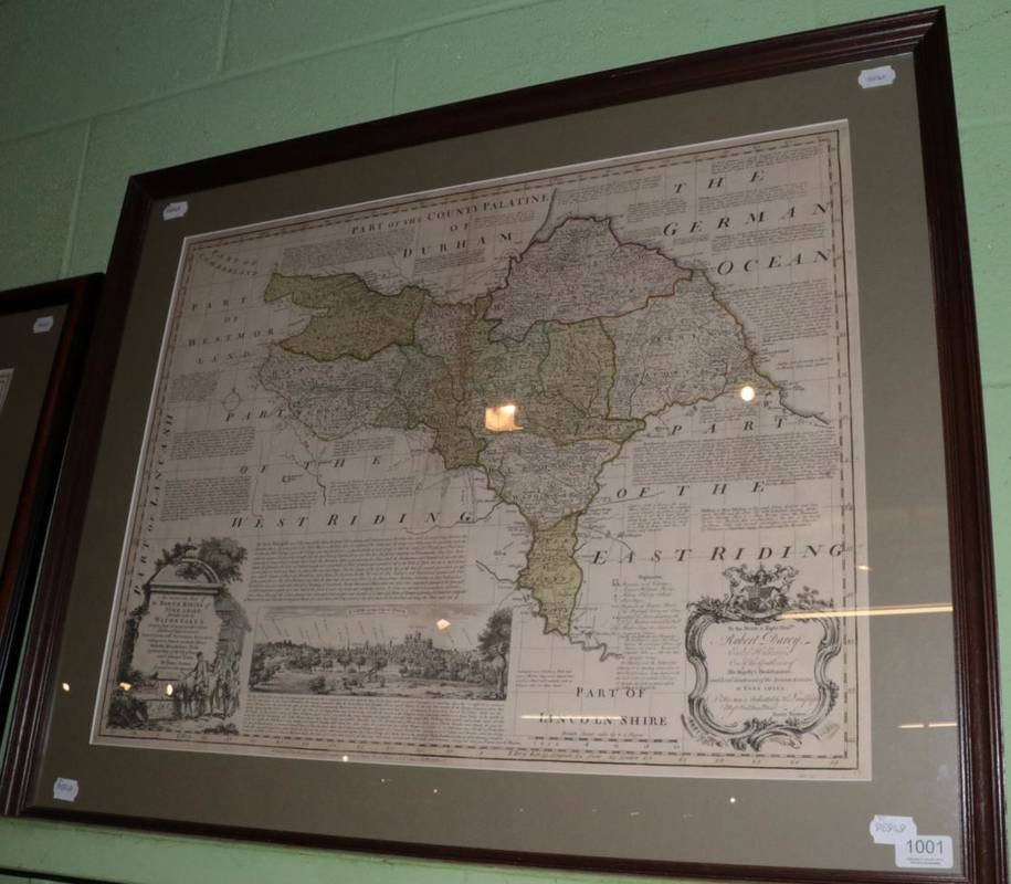 Lot 1001 - ~ Bowen (Emanuel) 'North Riding of Yorkshire', hand-coloured map, 54cm by 71cm