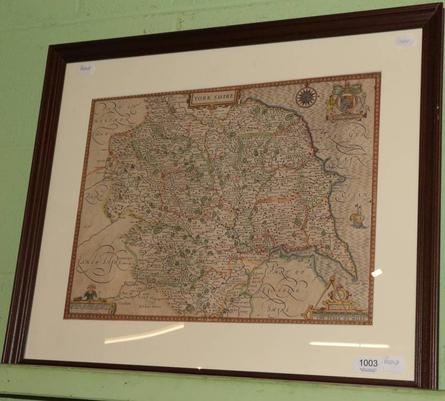 Lot 1003 - ~ Speede (John) 'Yorkshire', hand-coloured map, 38cm by 50cm
