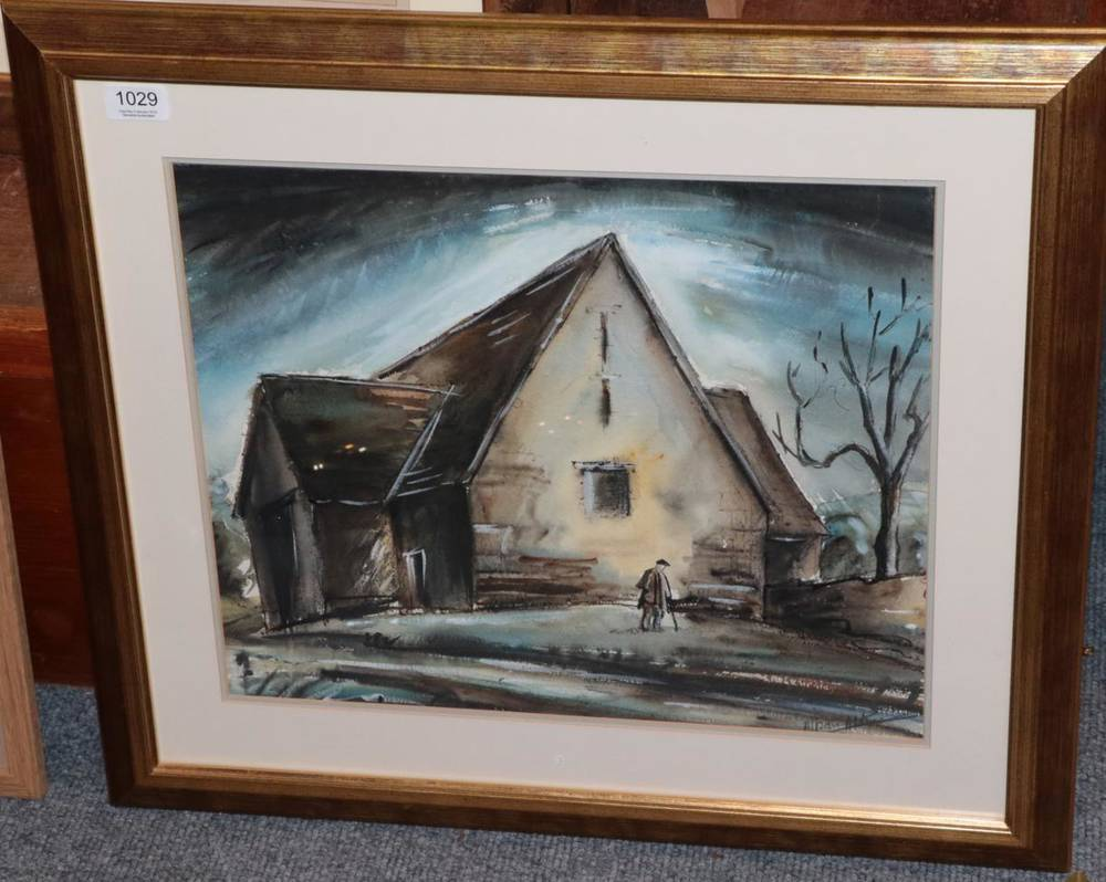Lot 1029 - British School, figure by a barn, watercolour, indistinctly signed lower right