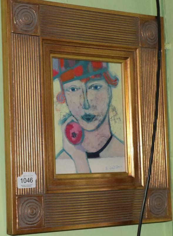 Lot 1046 - Giuliana Lazerini (Italian b. 1951) Girl and the apple, signed and dated 1999, oil on board,...