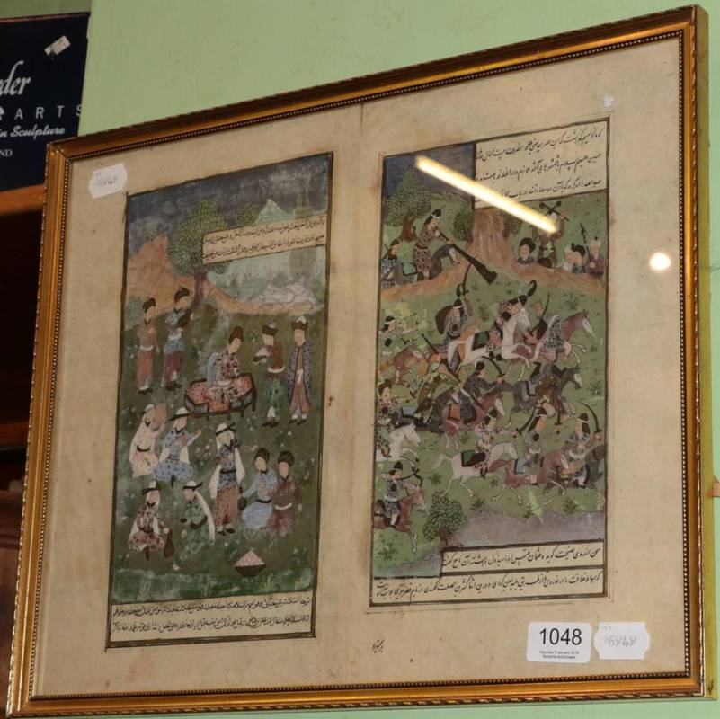 Lot 1048 - ~ Mughal School (18th century) Two leaves from illustrated manuscript, double sided, frame