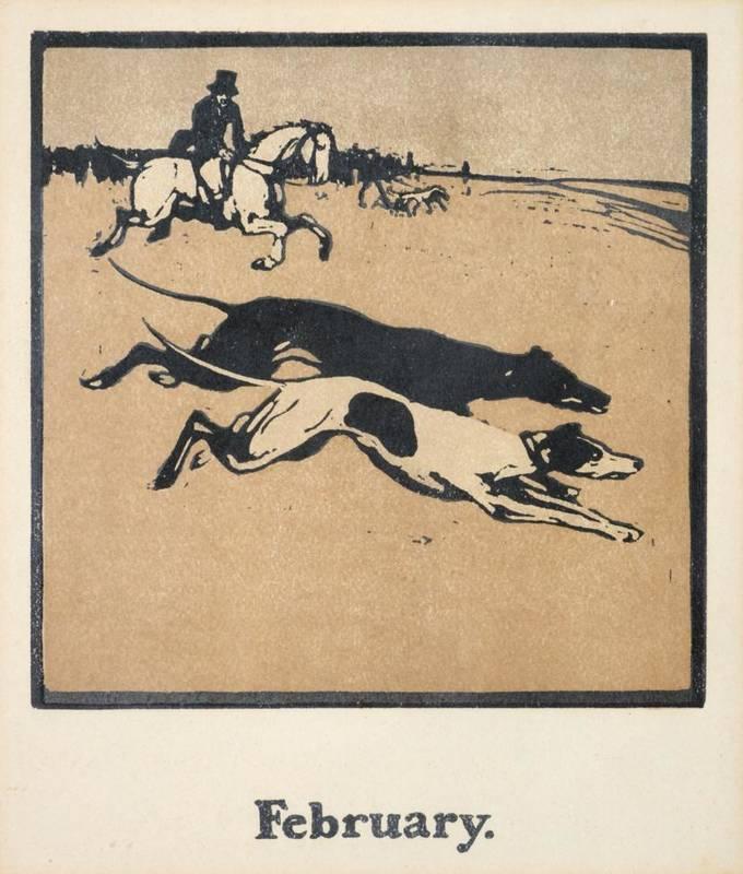 Lot 3 - After Sir William Nicholson (1872-1949)  ''An Almanac of Twelve Sports''  Woodcut, 55.5cm by...