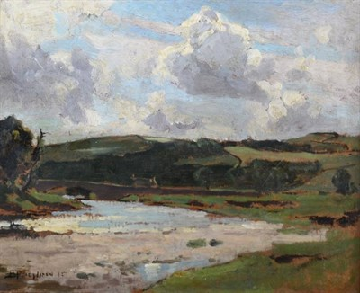 Lot 8 - Bertram Priestman RA, ROI, NEAC, IS (1868-1951) River landscape Signed and dated (19)15?, oil...