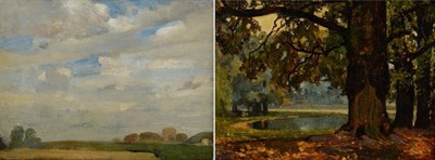 Lot 11 - Harry Bush ROI (1883-1957) Landscape study With artist's studio stamp verso, oil on board, together