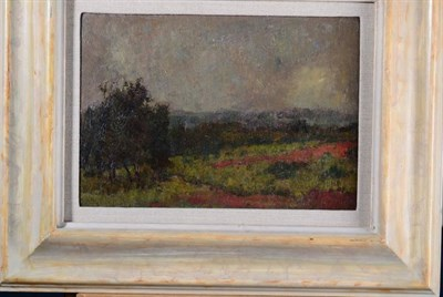 Lot 12 - Harry Bush ROI (1883-1957) ''Sunlit Trees'' Initialled, with artist's studio stamp verso, oil...
