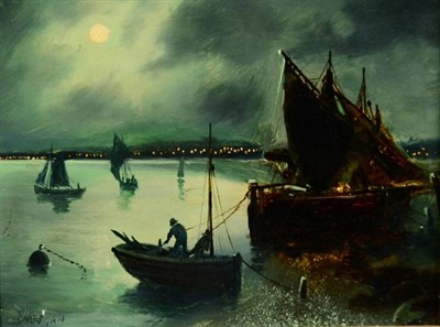 Lot 13 - Walter Linsley Meegan (1859-1944)  Nocturne scene with fishing boats Signed, oil on board, 21cm...