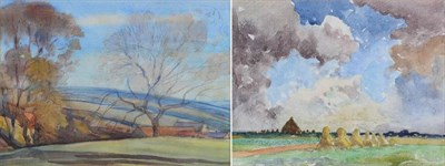 Lot 18 - Mark Senior NPS (1864-1927) ''Landscape, Hinderwell'' Pencil and watercolour, together with a...