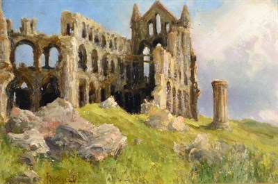 Lot 19 - Stephen Frank Wasley (1848-1934) Abbey Ruins Signed, oil on canvas, 32cm by 49.5cm
