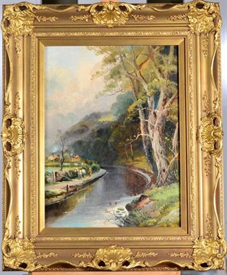 Lot 20 - Walter Meegan (1859-1944) Figure leading a cart horse beside a canal Signed, oil on canvas,...