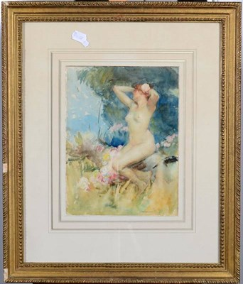 Lot 24 - Antoine Calbet (1860-1944) French  Female nude seated amongst flowers and foliage   Signed,...