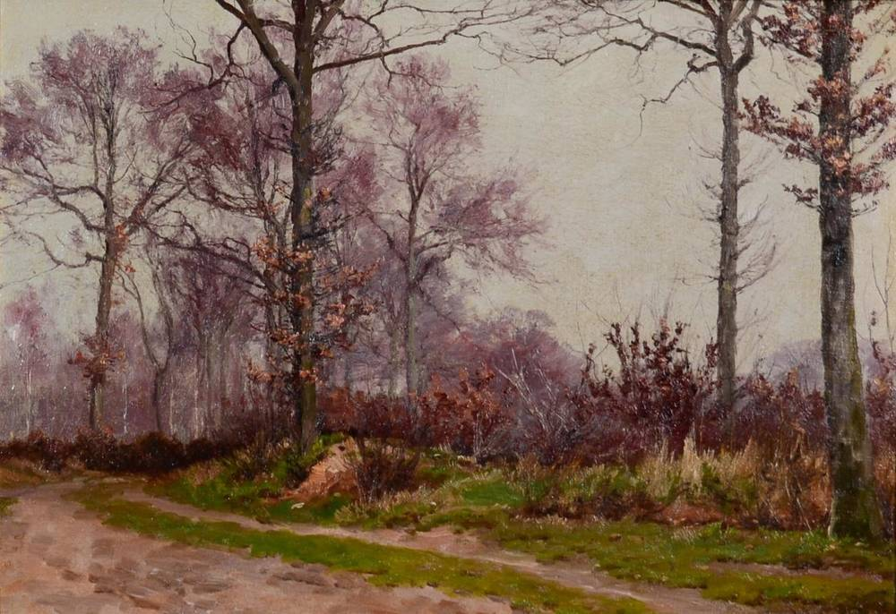 Lot 25 - William Baptiste Baird (1847-1899) American  Autumnal wooded path  Initialled, oil on canvas,...