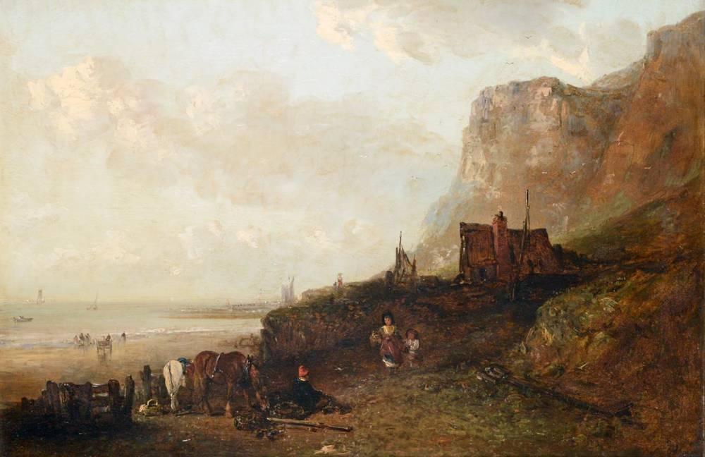 Lot 32 - Edward Robert Smythe (1810-1899) A busy Norfolk coastal scene Signed, oil on canvas, 50cm by 75cm
