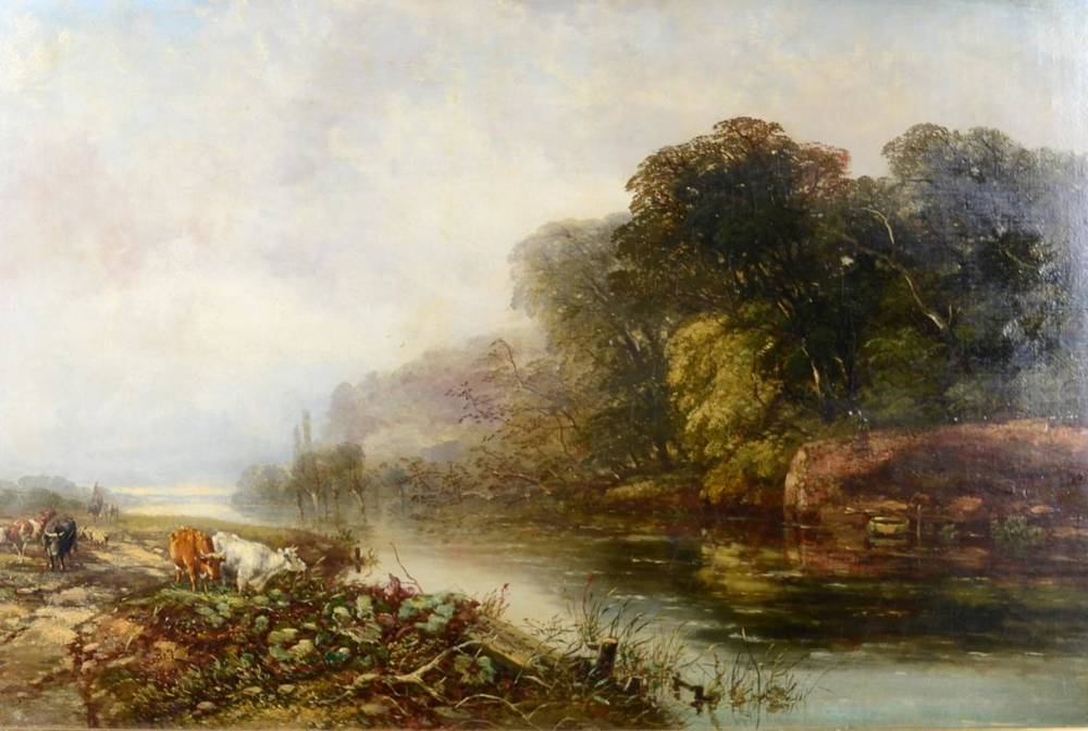 Lot 34 - Arthur James Stark (1831-1902)  Herdsman with sheep and cattle at a river crossing Oil on...