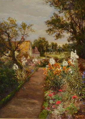 Lot 39 - Charles James Lewis R I (1830 - 1892) ''The Flower Garden, Hurley, 1863'' Signed and dated July...