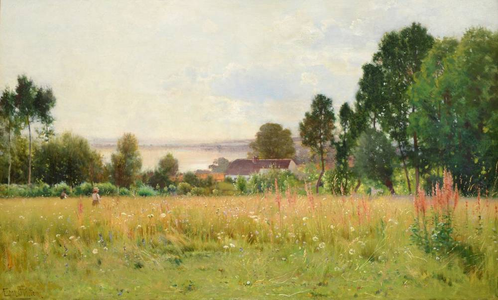 Lot 40 - Ernest Parton (1845 - 1938) Flower meadow with figures before a country cottage Signed, oil on...