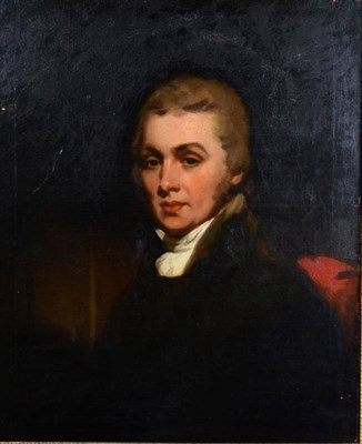 Lot 117 - Manner of Sir Thomas Lawrence (1769-1830) Portrait of a gentleman in a white stock Oil on...