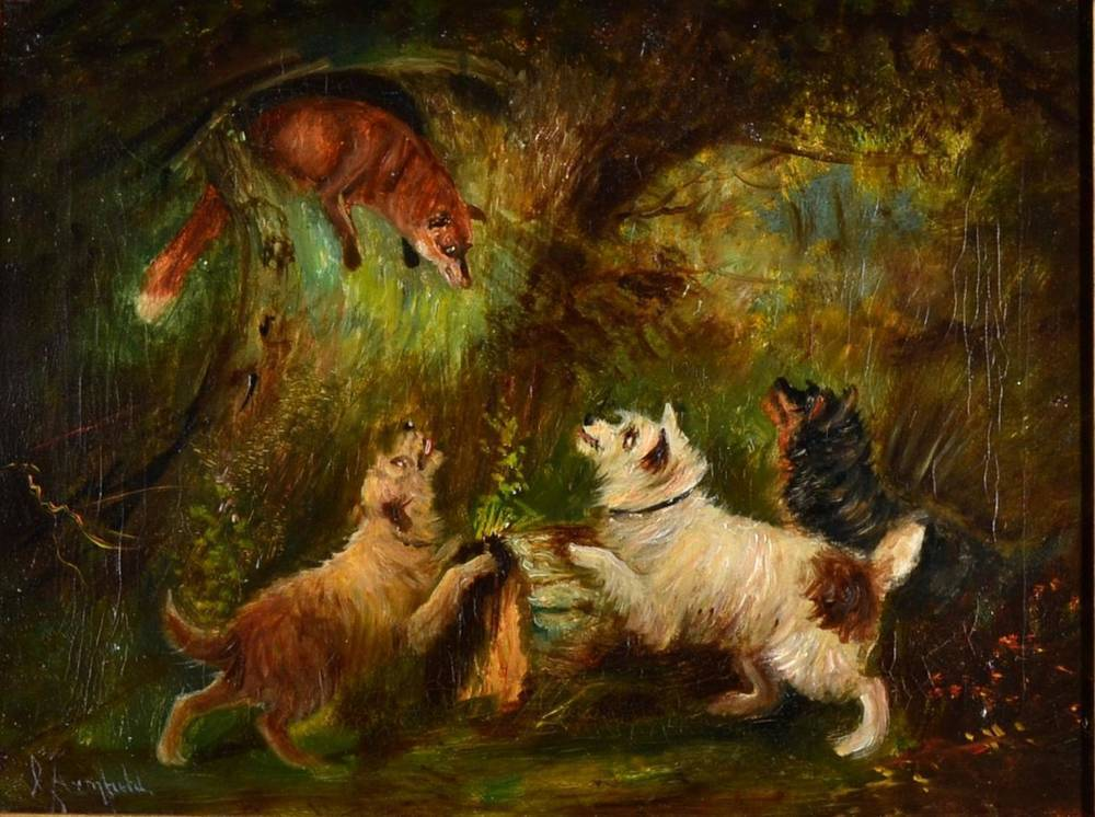 Lot 127 - George Armfield (1810-1893) ''Cornered'' Signed, oil on canvas, 30cm by 39.5cm
