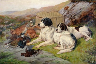Lot 128 - Amos Watmough (fl.1880-1900) ''A successful day on the hill''  Signed, oil on canvas, 40cm by 60cm