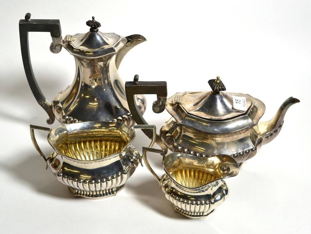 Lot 15 - A late Victorian silver four piece tea service, probably Charles Horner, Birmingham, 1900,...