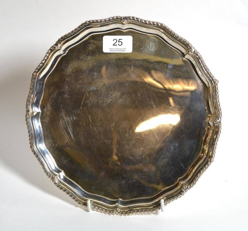Lot 25 - A circular salver, Barker Brothers Birmingham, 1951, 22.5cm diameter, 21.5ozt
