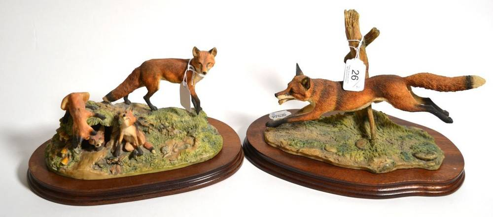 Lot 26 - Border Fine Arts 'Leicester Fox', model No. L58 by Ray Ayres, limited edition 300/500, on wood base