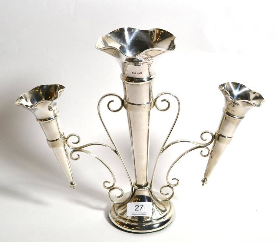 Lot 27 - A George V silver three vase epergne, Walker and Hall, Sheffield 1922, 28cm high, base filled,...