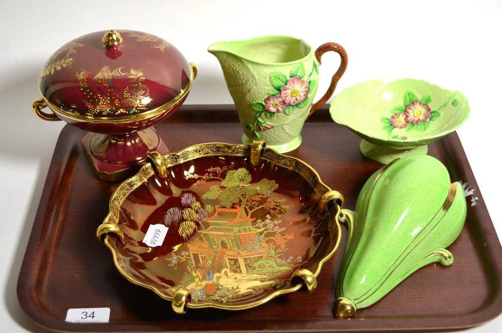 Lot 34 - A Carlton Ware Rouge Royale dish with four other items (5)