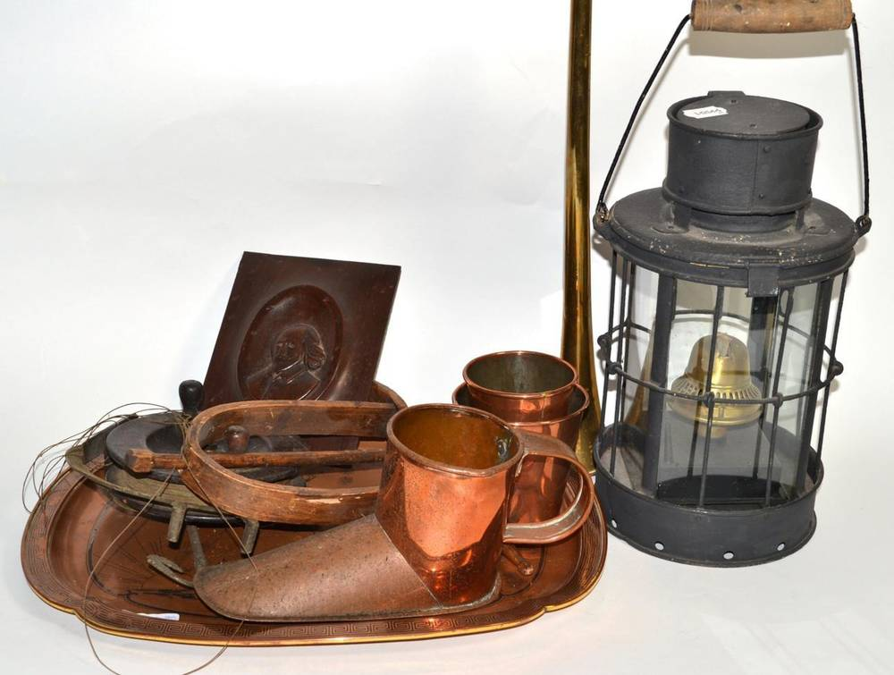Lot 43 - A group of miscellaneous including a lantern, Hickory wool winder; copper measures; leather...