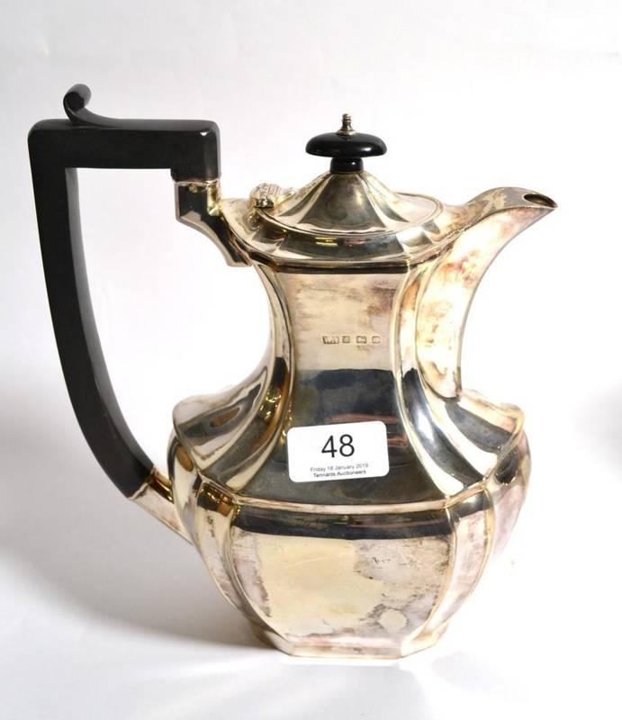 Lot 48 - A silver hot water jug, William Adams, Birmingham 1927, 23cm high, 19ozt