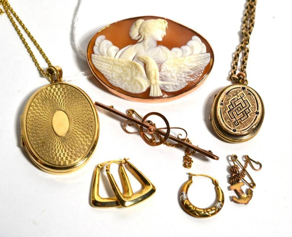 Lot 82 - A group of 9ct gold jewellery including lockets on chains, cameo brooch, earrings, etc