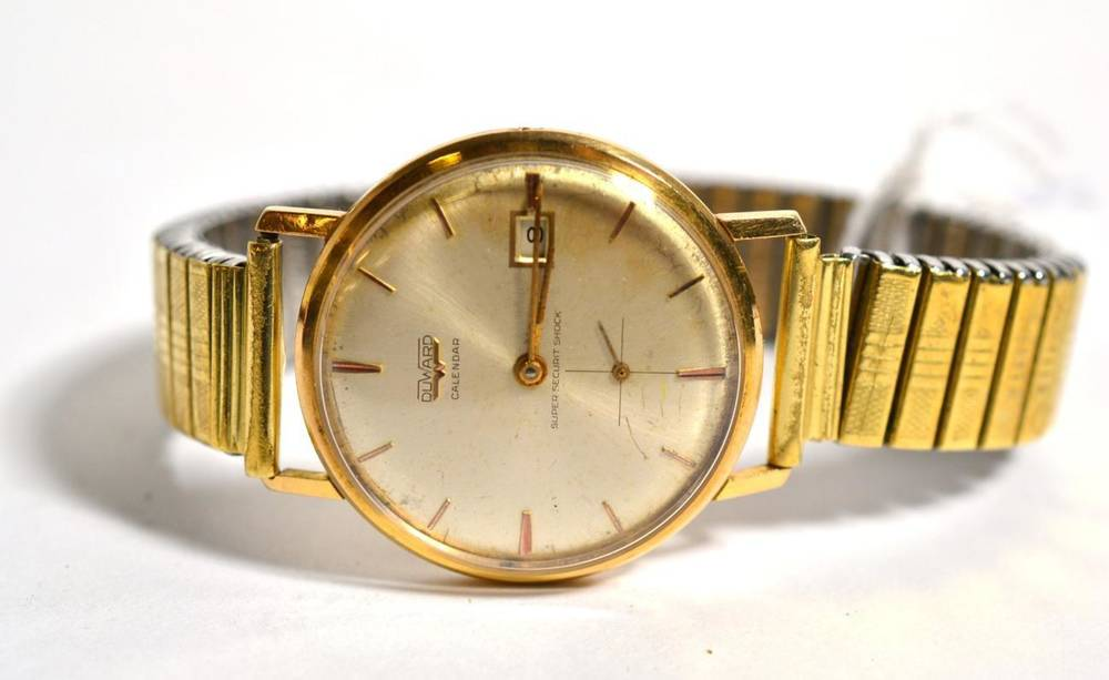 Lot 88 - A gents calendar wristwatch, signed Duward, case back stamped 18k0.750