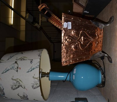 Lot 1000 - Art Nouveau copper coal bin; a nest of three brass and glass tables; wooden bellows; and a blue...