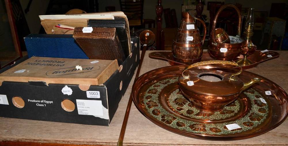 Lot 1003 - A group of copper including a Royal Mail horn, trays etc; together with cased plated flatware; LPs